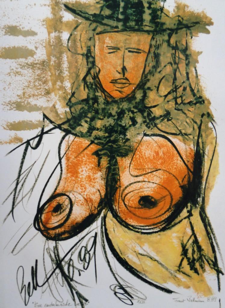 """Walzbild """"Eine andalusische Liebe"""", 1989, Öl, Wachssignierkreide, Papier, DINA 3, Privatbesitz Edgar Landherr, DSC08663"""