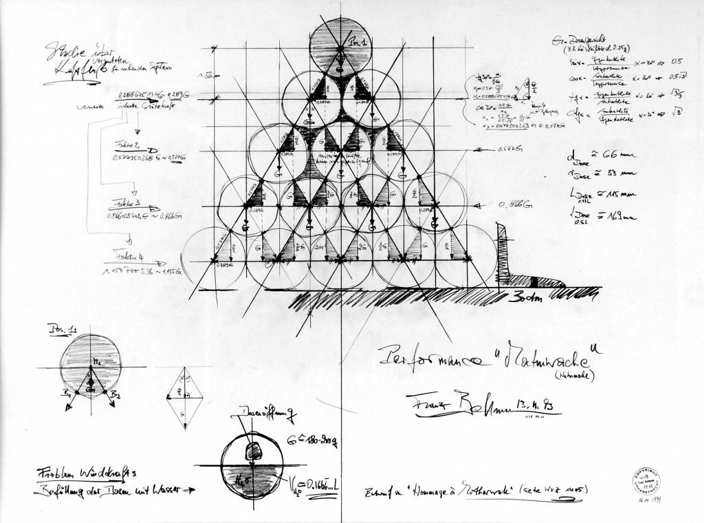 """Zeichnerischer Entwurf für die Performance """"Dosengrab"""", 17.11.1993 in HD:"""