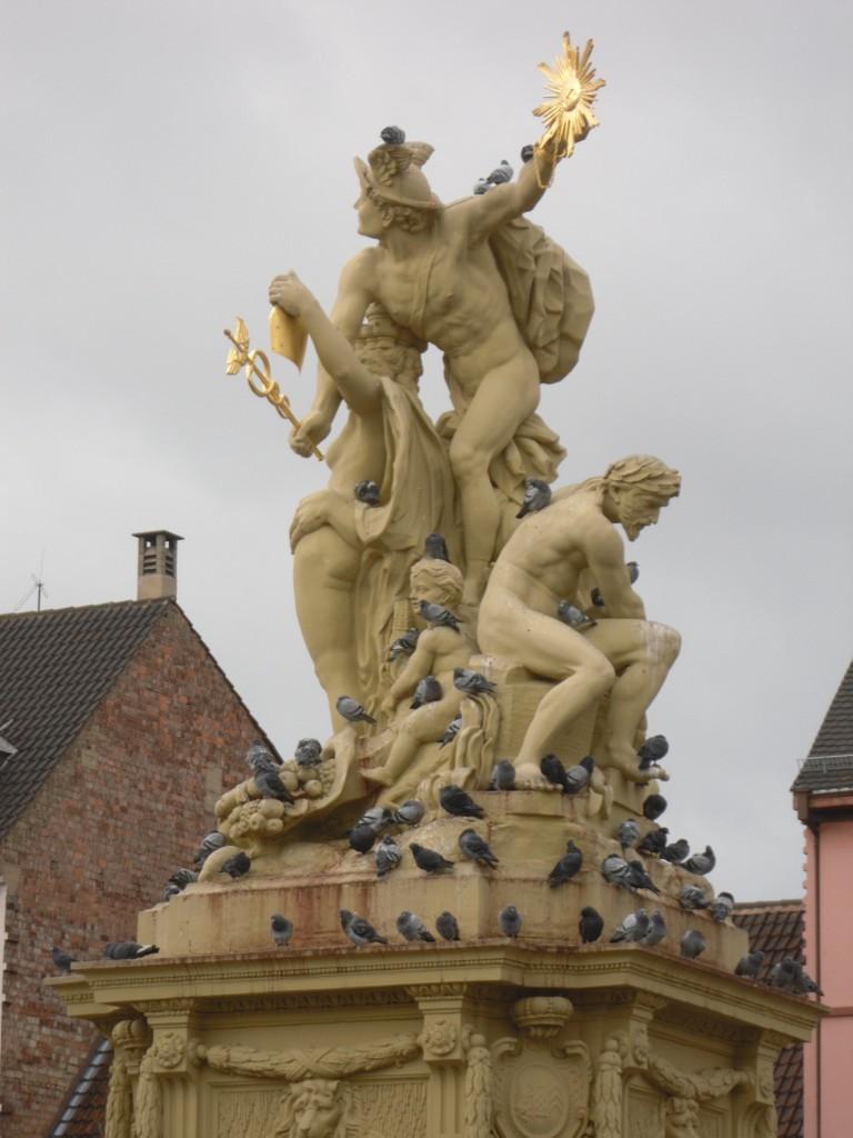 Taubenplage Marktplatzbrunnen Mannheim