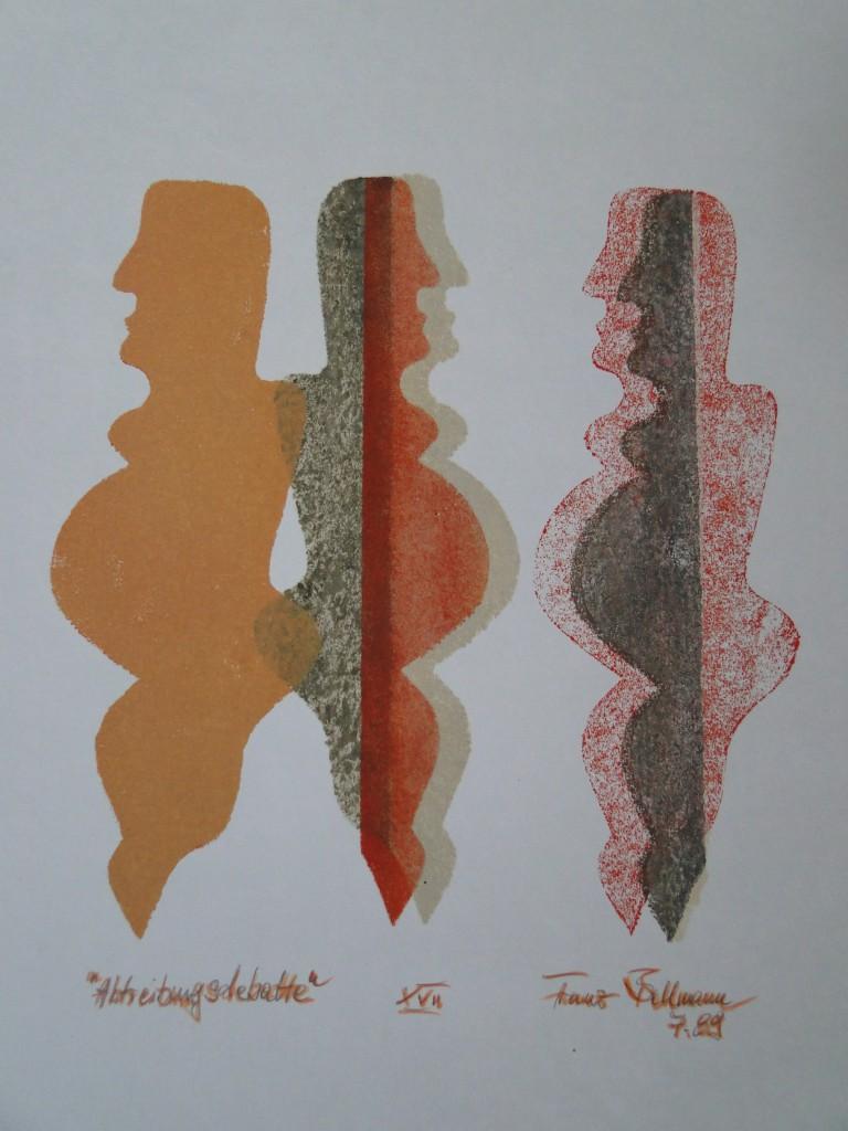 """""""Abtreibungsdebatte"""", Öl, Papier, DINA 3, 1989, Teil des """"Juli-Buches"""",  Nr. XVII, DSC08513"""