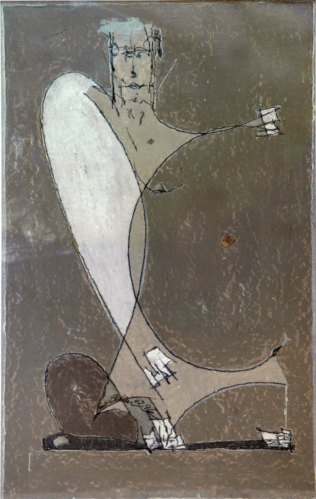 """""""Giacometti"""", Bildformat 86 cm x 56 cm, WVZ 1525, 02.96, Foto Manfred Rinderspacher, DSC_0100"""