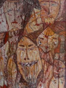 """Die Chimären"", WVZ 2010, Öl auf Papier, Rahmenformat 100 cm x 70 cm, Bildformat 87 cm x 58 cm, 2000, P1090332"