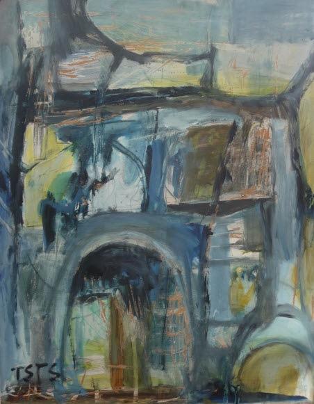 o.T., Öl auf Papier, ohne Jahr, gerahmt, 88 cm x 68 cm,Besitz: Künstlernachlässe Mannheim
