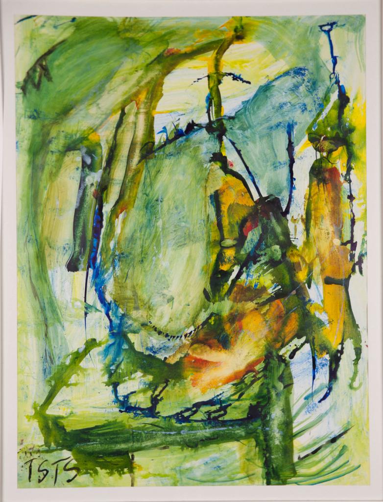 o.T., Öl auf Papier, ohne Jahr, 80 cm x 63 cm, gerahmtPrivatbesitz