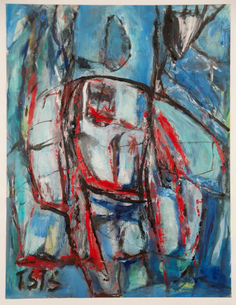 o.T., Öl auf Papier, ohne Jahr, 92 cm x 70 cm, gerahmt,Besitz: Künstlernachlässe Mannheim