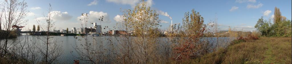 Die Diffenébrücke mit Blick über den Altrhein zur Friesenheimer Insel