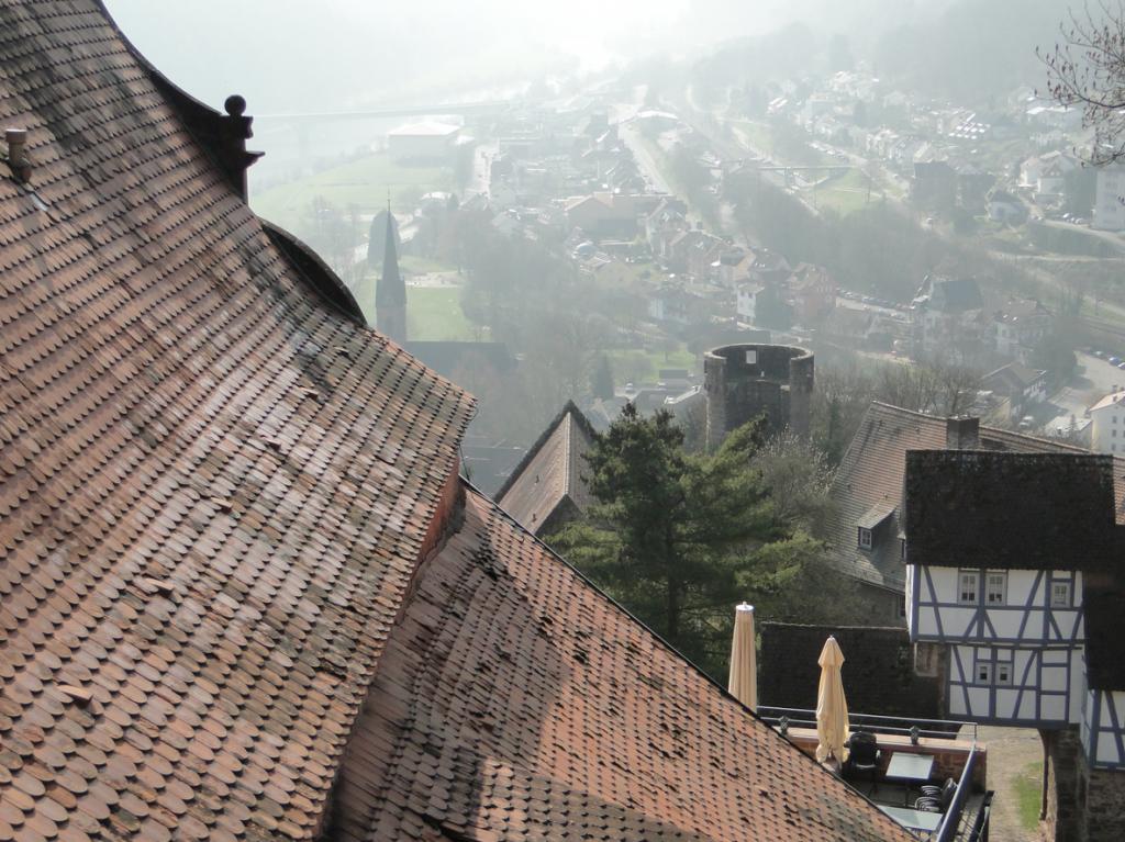 Oben auf der Burg, links oben im Dunst der Neckar
