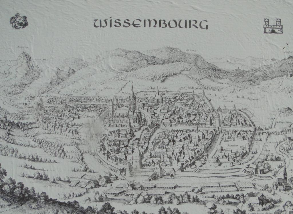 Wissembourg im Mittelalter auf einem Info-Schild...