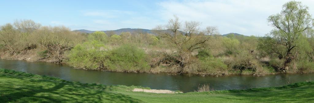 Sichtbar ein kleines Teilstück des Flusses im Naturschutzgebietes, in der Ferne der Odenwald...
