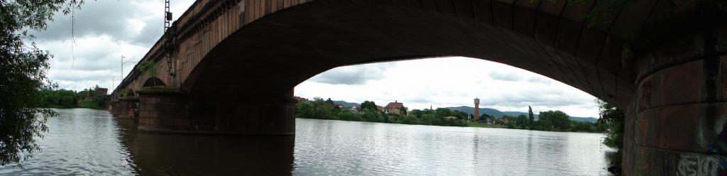 Brücke für den Fern- und Nahverkehr der DB AG, inclusive Radweg zwischen Ladenburg und Neckarhausen