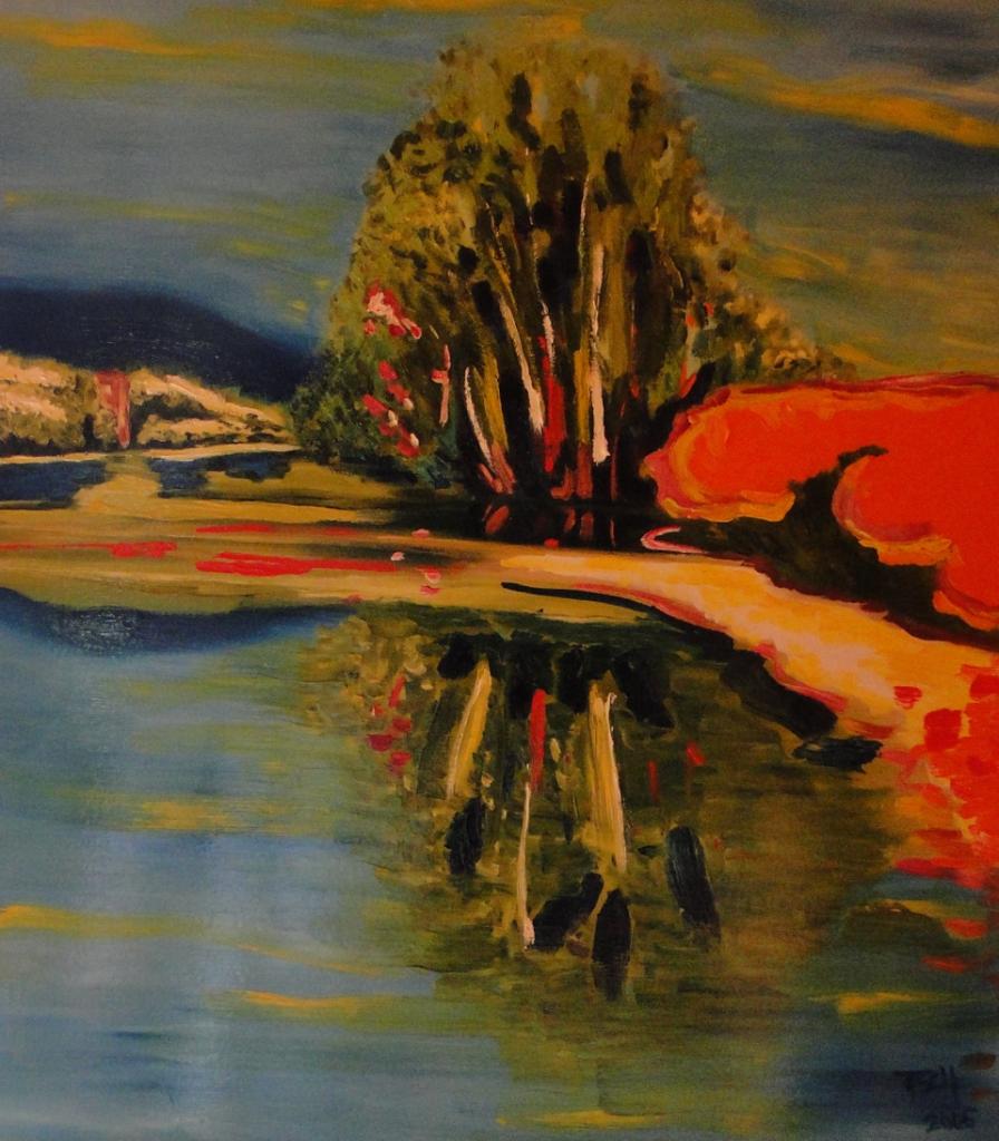 'Eingang alter Neckar', Edingen, 60x70 cm, Öl/Lw, 2005, Sign. r. u. ...