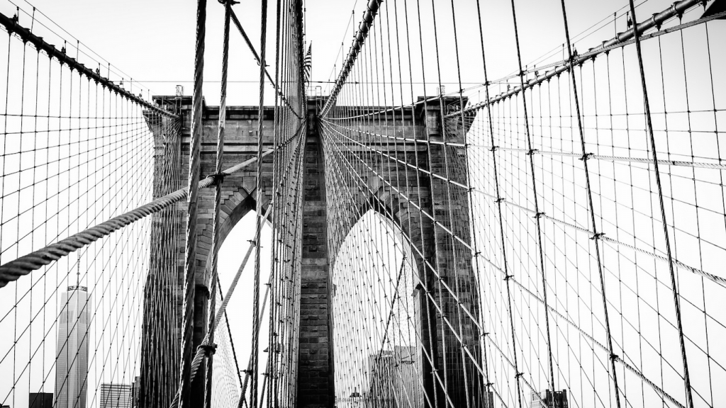 Brooklyn Bridge, East River, Hängebrücke ...