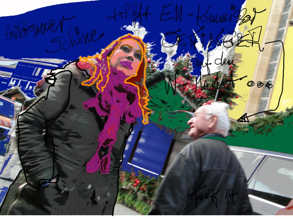 Heilbronner Schöne trifft EU - Kommissar OETTINGER auf dem W-Markt